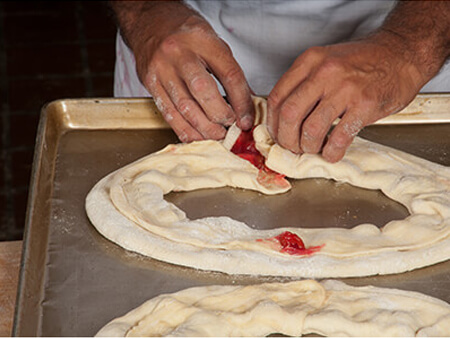 seaming kringle dough