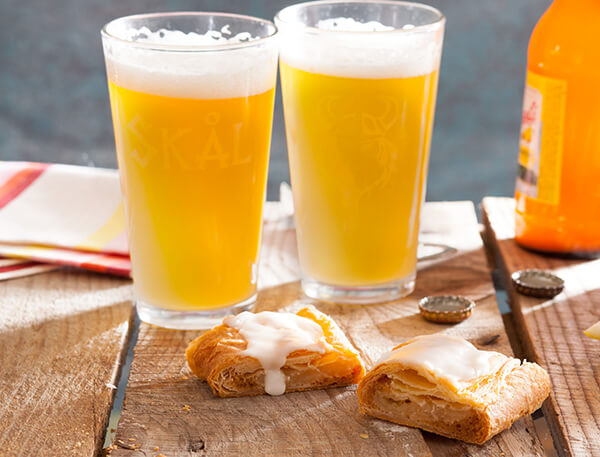 Summer Shandy beer with a slice of kringle