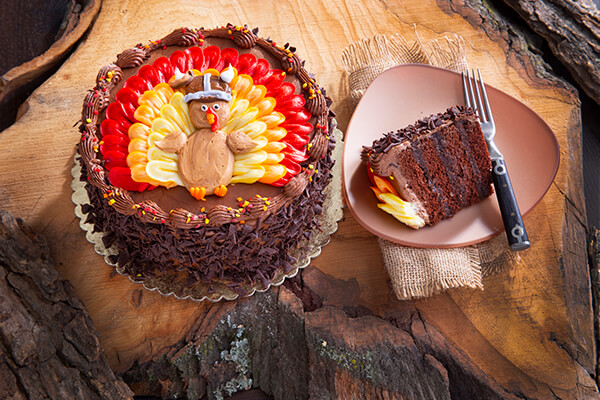 Thanksgiving chocolate cake with turkey design