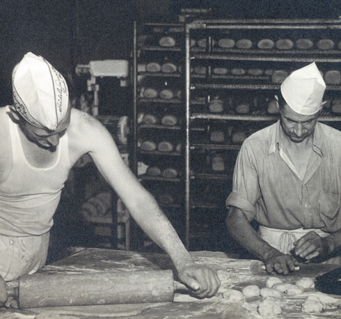 Historic photo - rolling dough
