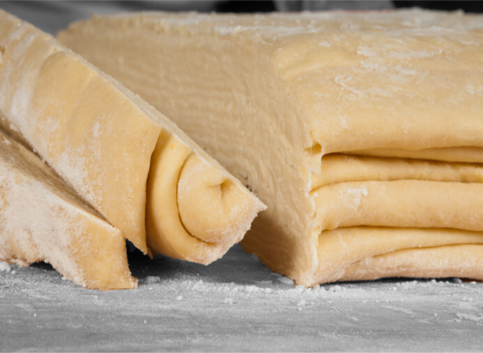 Fresh gently rolled dough
