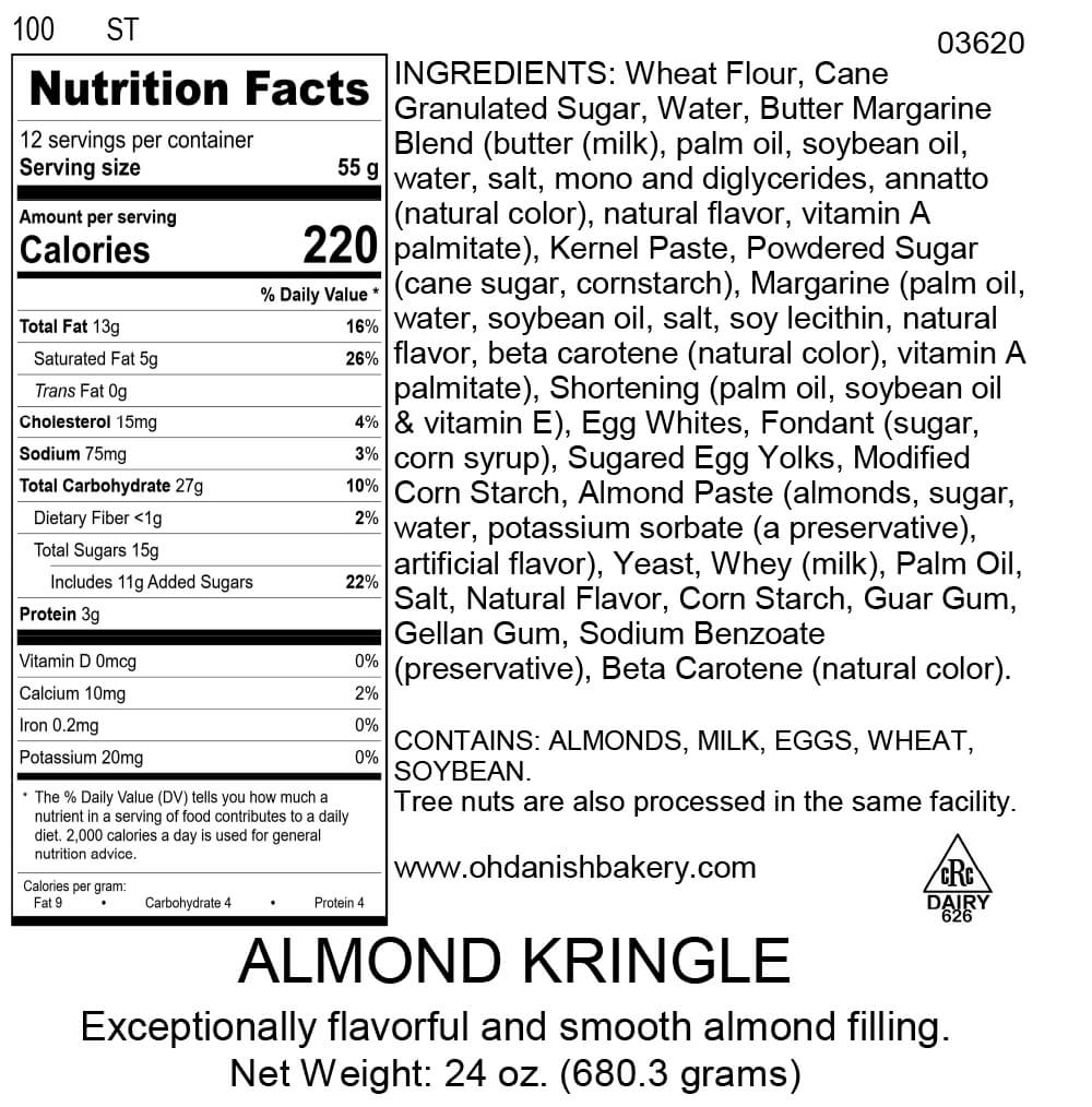 Nutritional Label for Almond Kringle