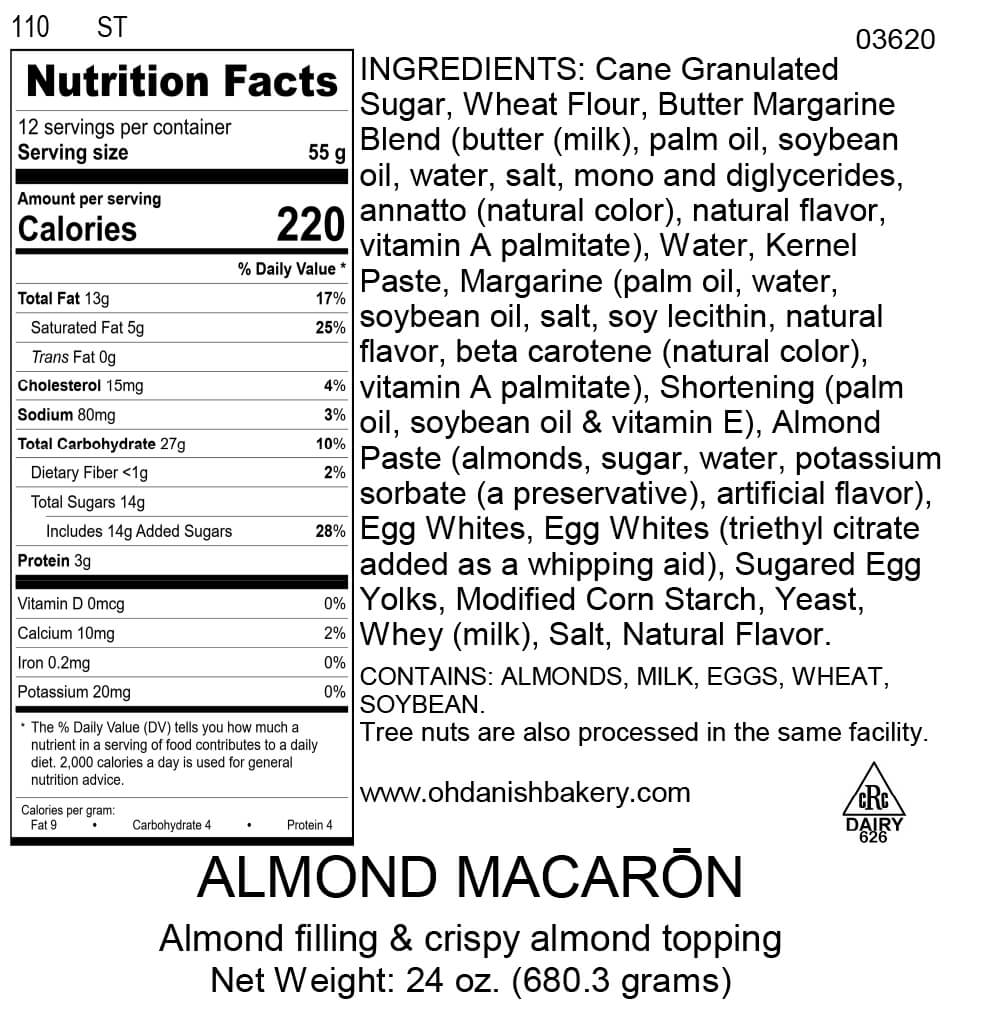 Nutritional Label for Almond Macaron Kringle