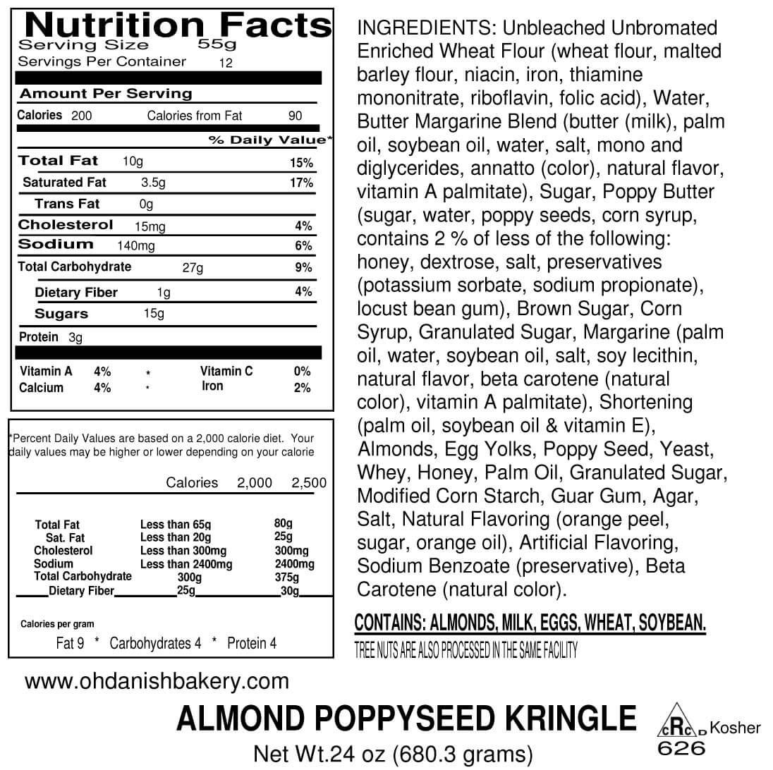 Nutritional Label for Almond Poppyseed Kringle