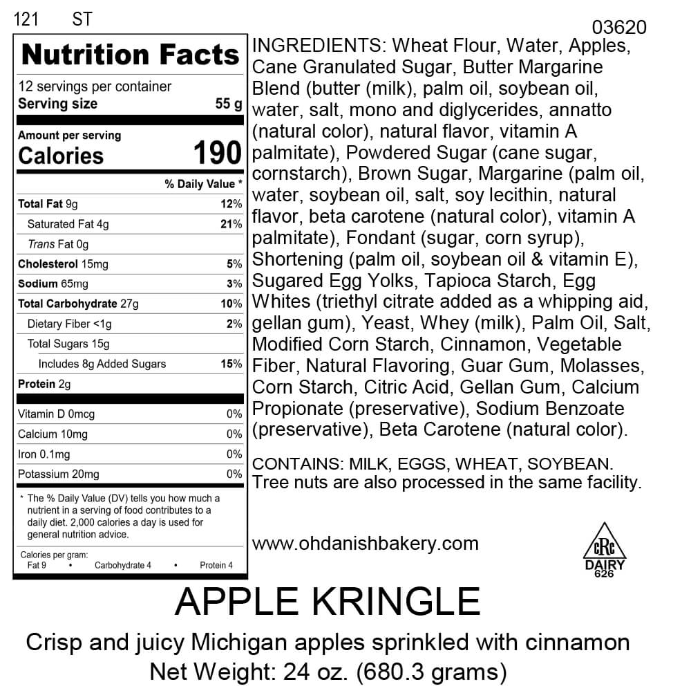 Nutritional Label for Apple Kringle