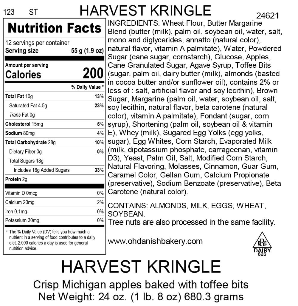 Nutritional Label for Harvest Kringle