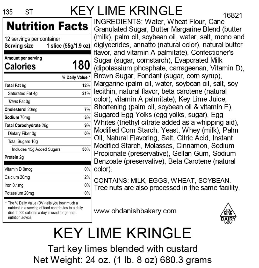 Nutritional Label for Key Lime Kringle