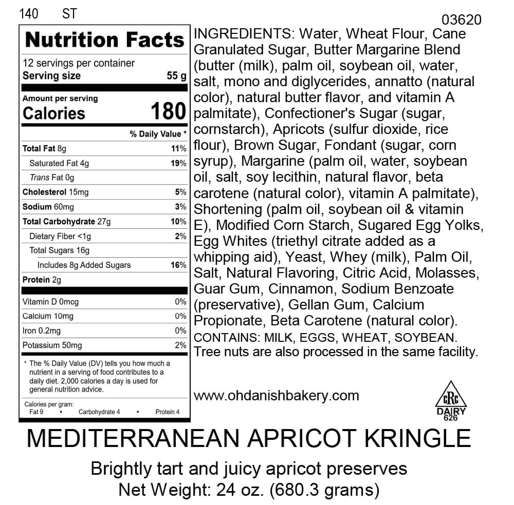 Nutritional Label for Apricot Kringle