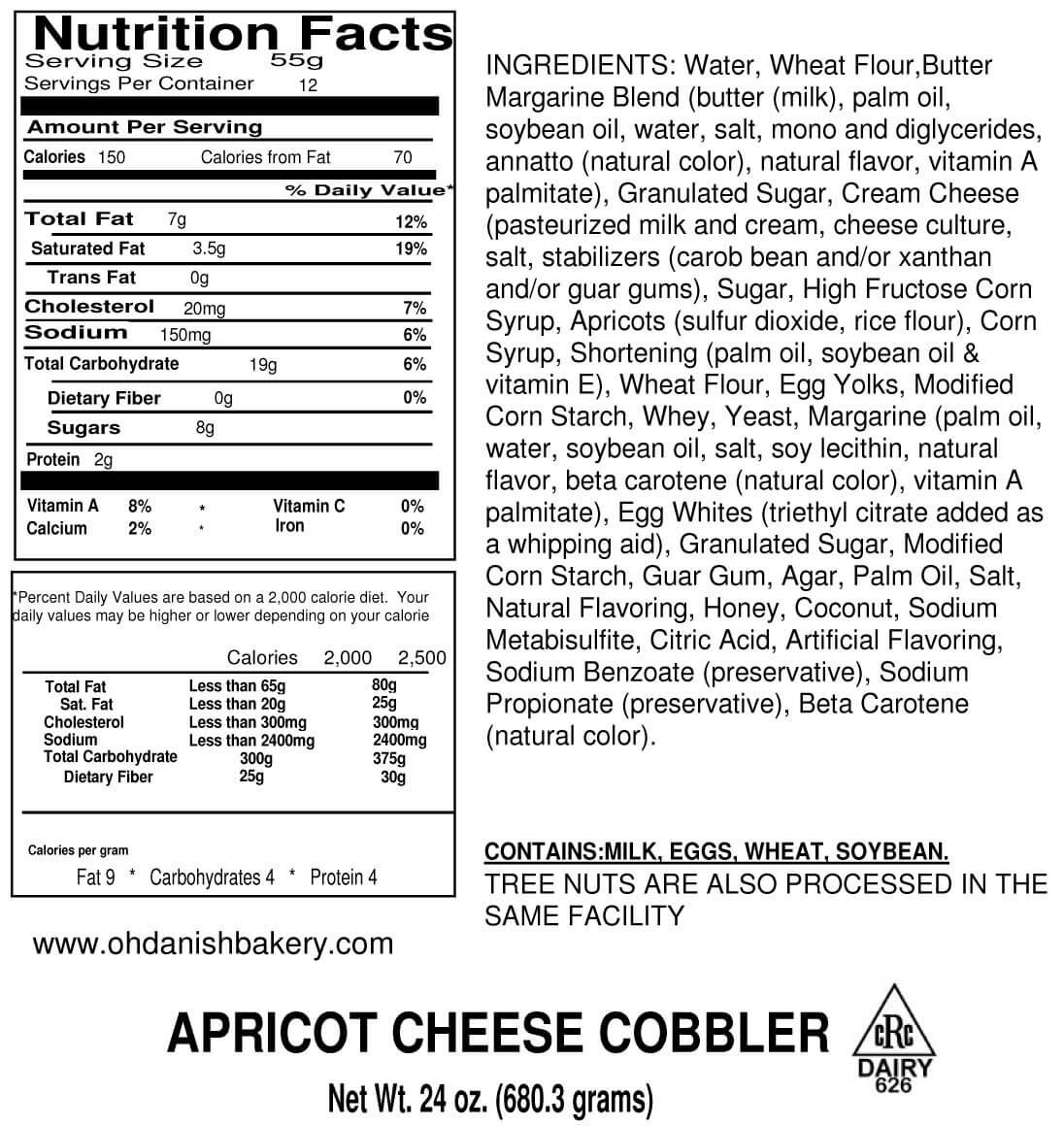 Nutritional Label for Apricot Cheese Cobbler Kringle