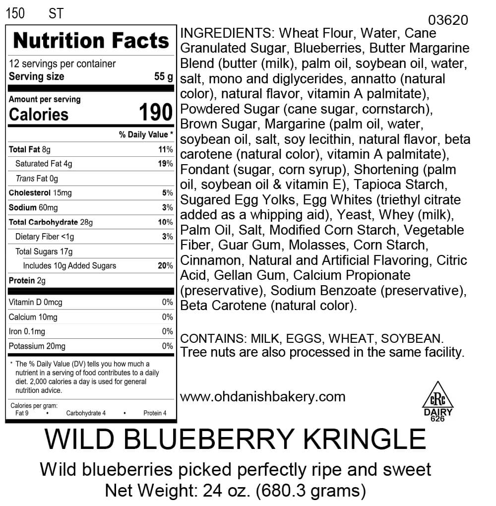 Nutritional Label for Wild Blueberry Kringle