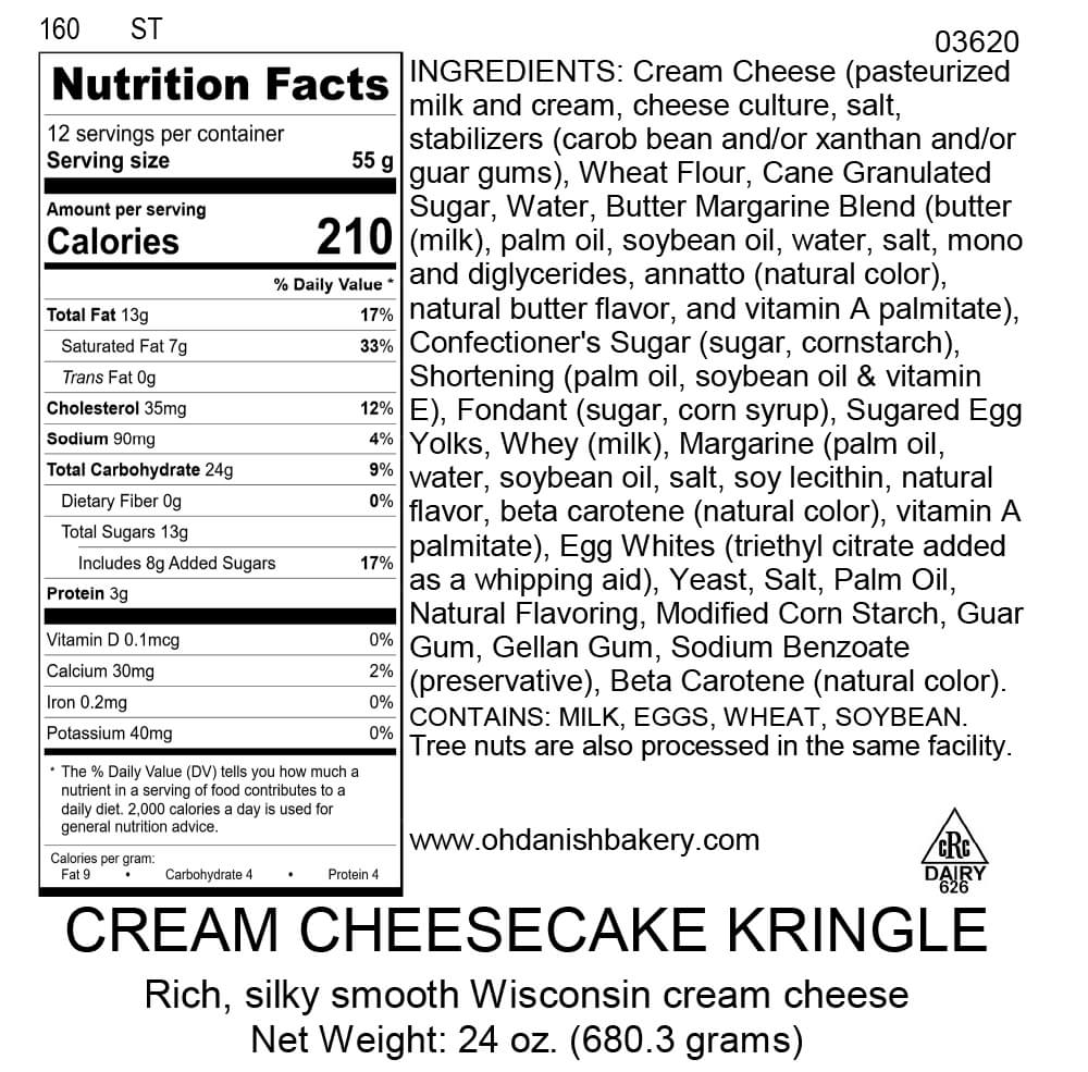 Nutritional Label for Cream Cheesecake Kringle