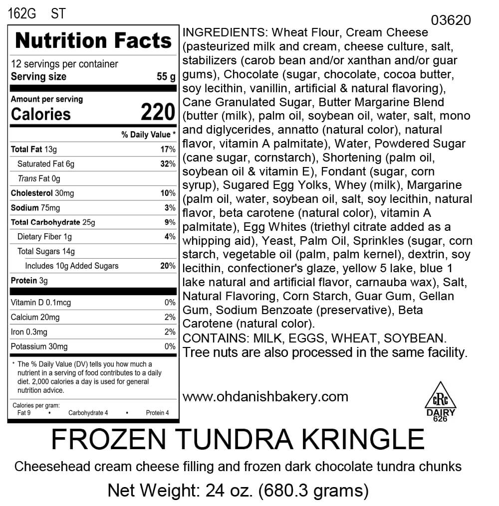 Nutritional Label for Frozen Tundra Kringle