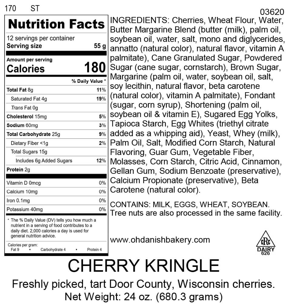 Nutritional Label for Cherry Kringle