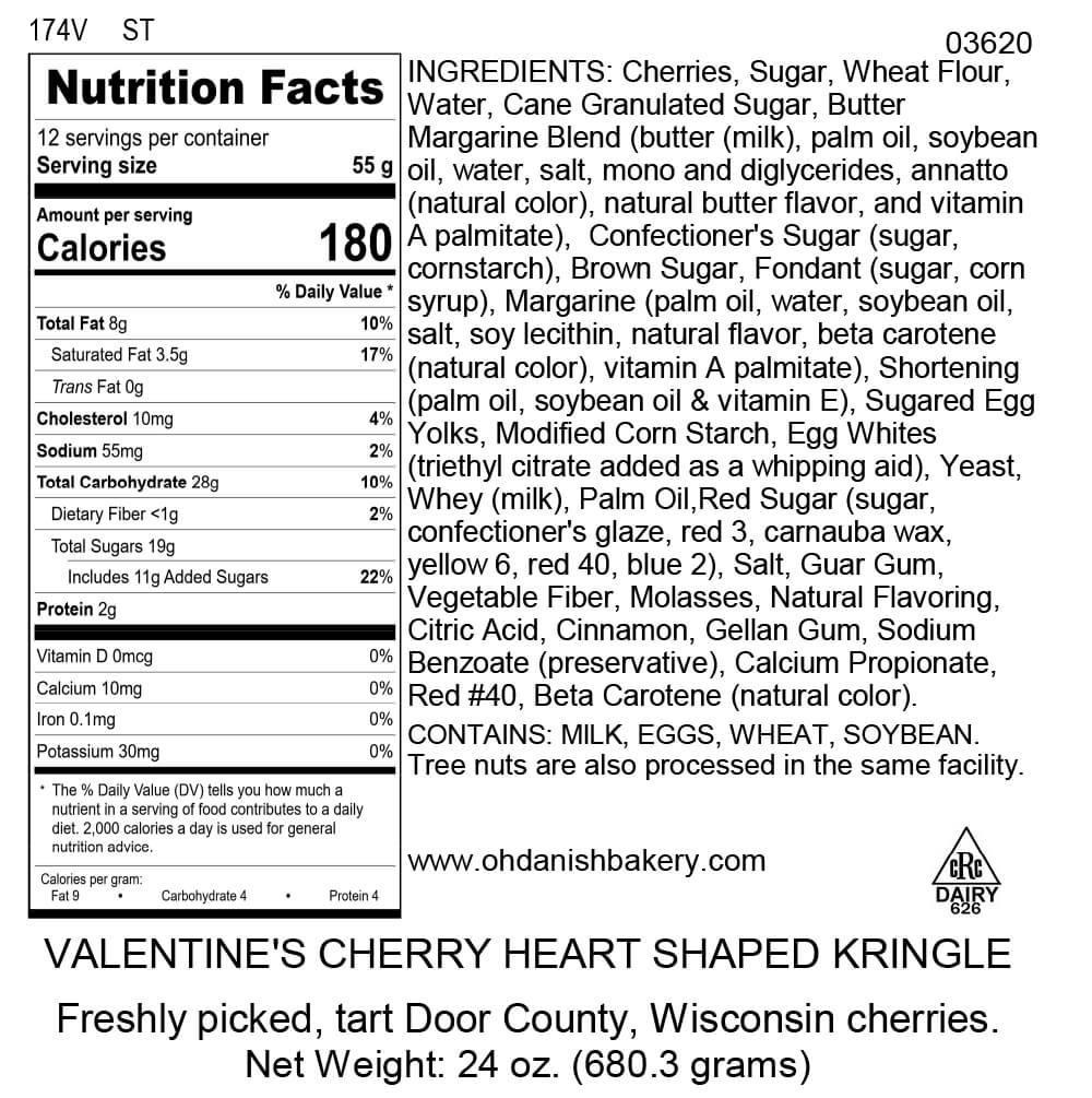 Nutritional Label for Valentine Cherry Kringle