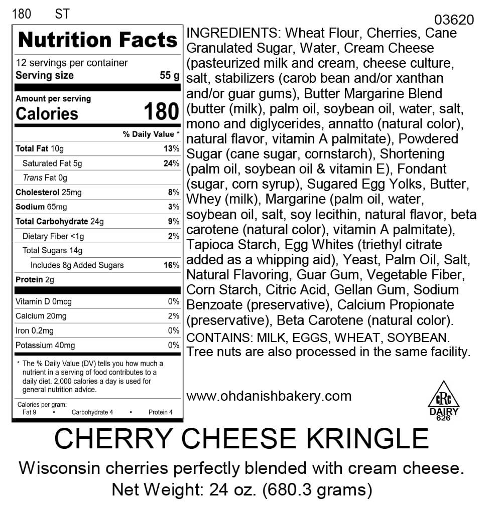 Nutritional Label for Cherry Cheese Kringle