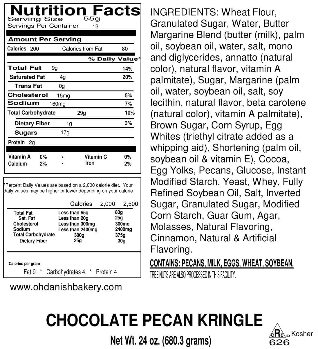 Nutritional Label for Chocolate Pecan Kringle