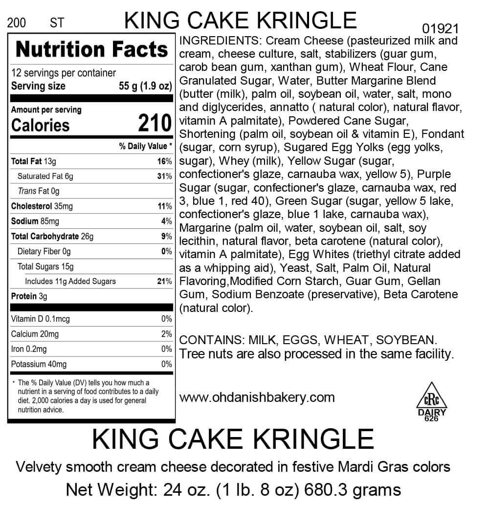 Nutritional Label for King Cake Kringle
