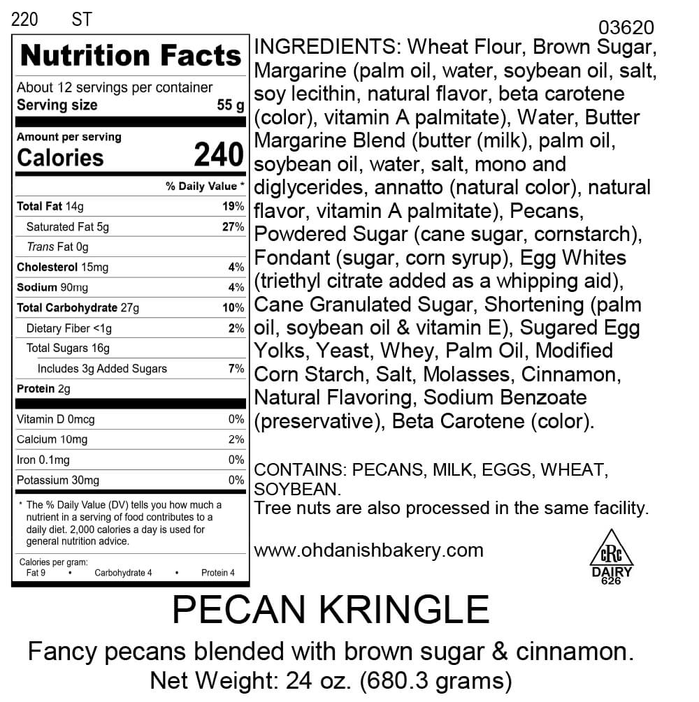 Nutritional Label for Pecan Kringle