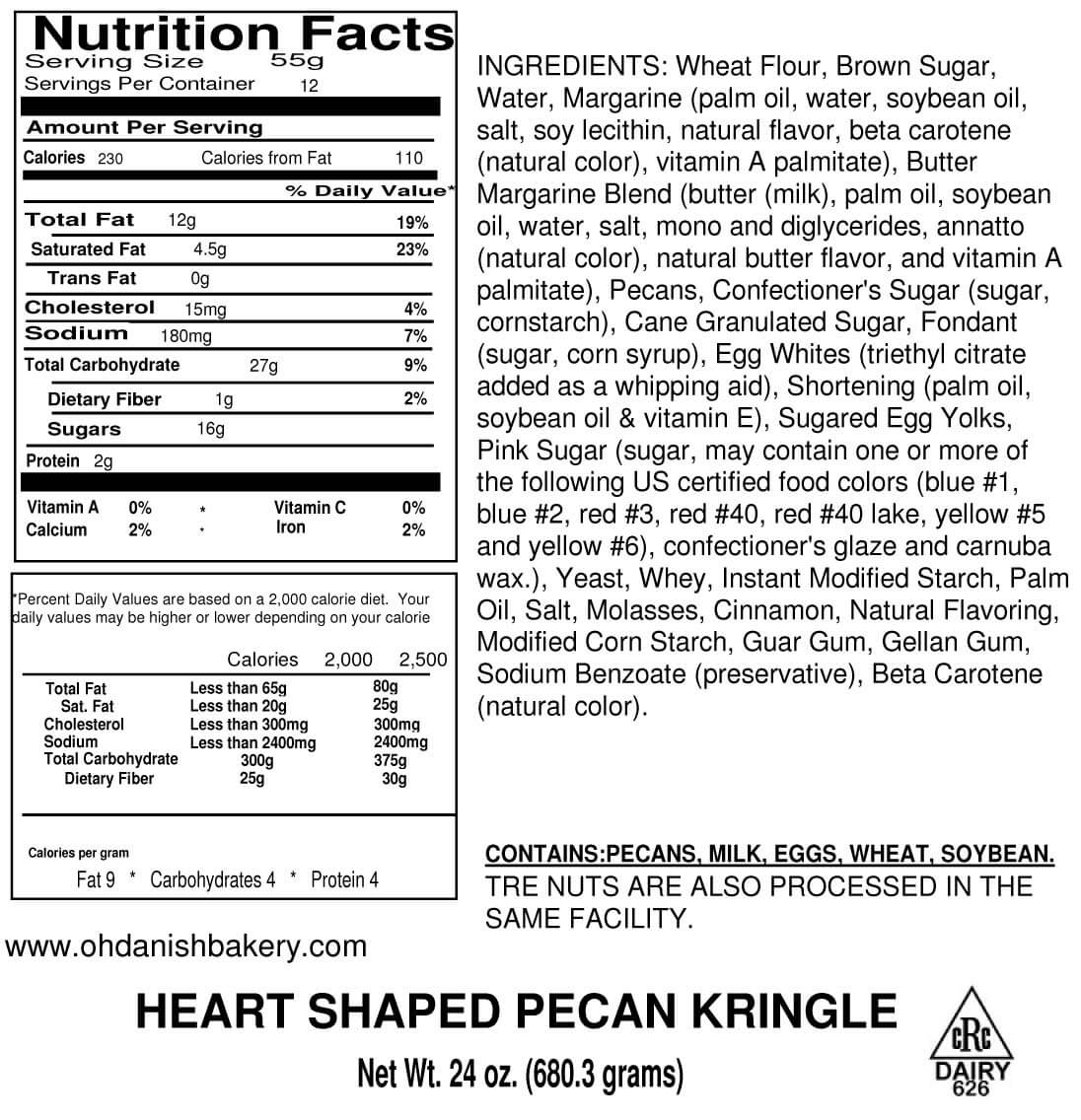 Nutritional Label for Mother's Day Pecan Heart Shaped Kringle
