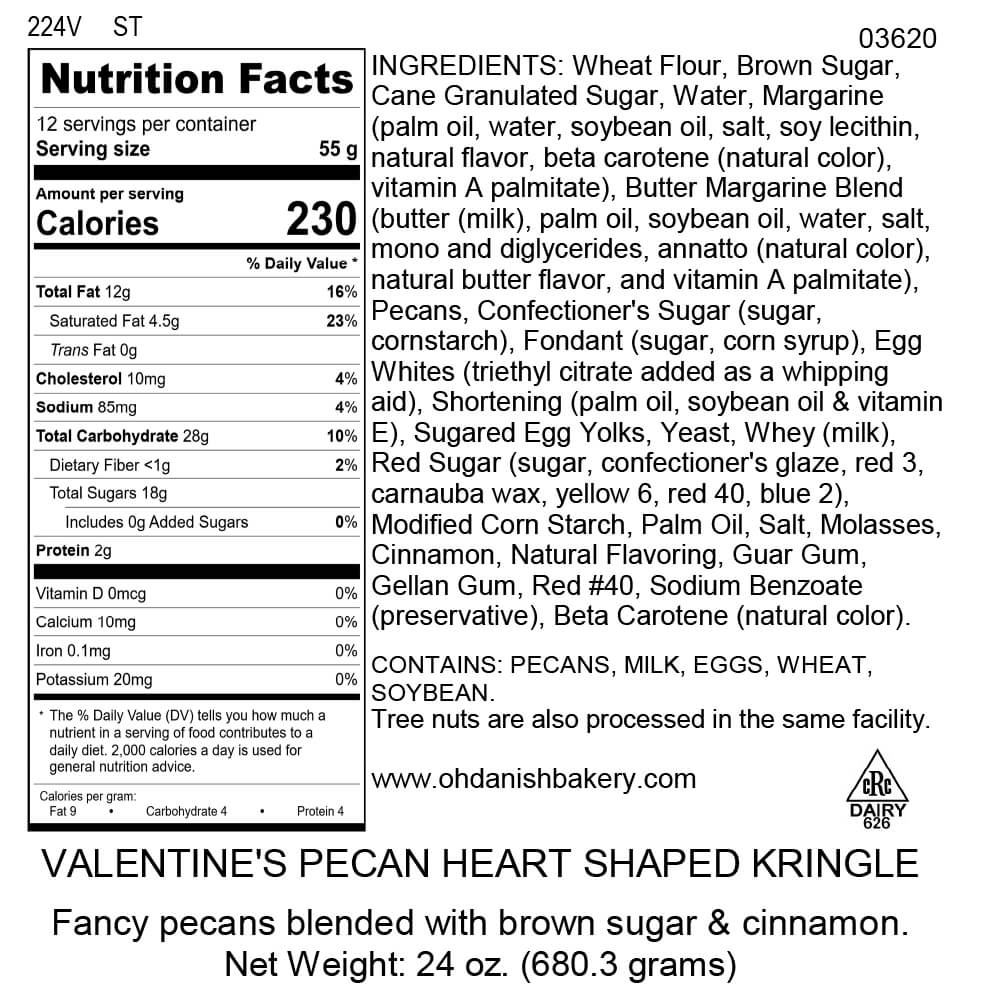 Nutritional Label for Valentine Pecan Kringle