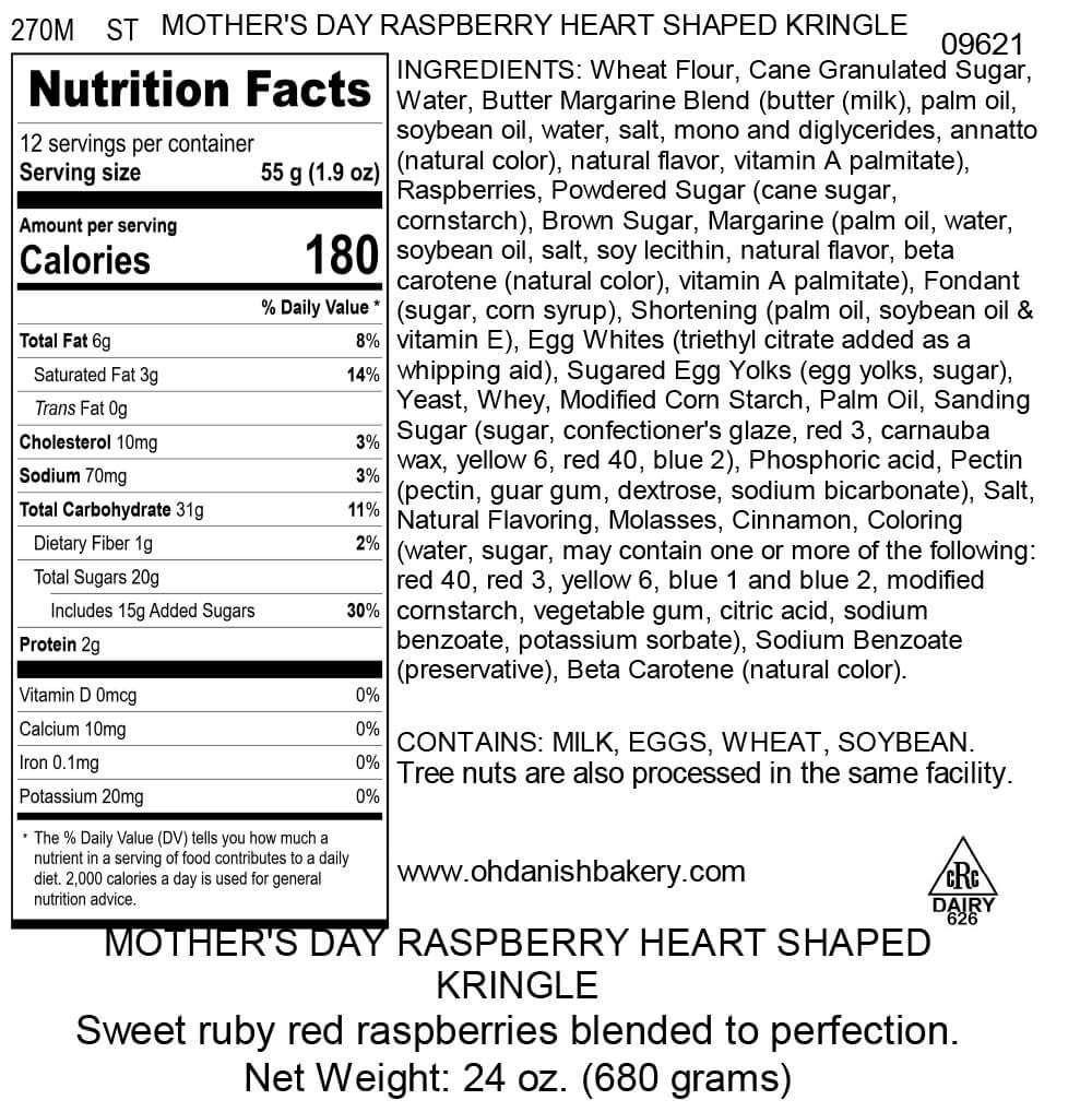 Nutritional Label for Mother's Day Raspberry Heart Shaped Kringle