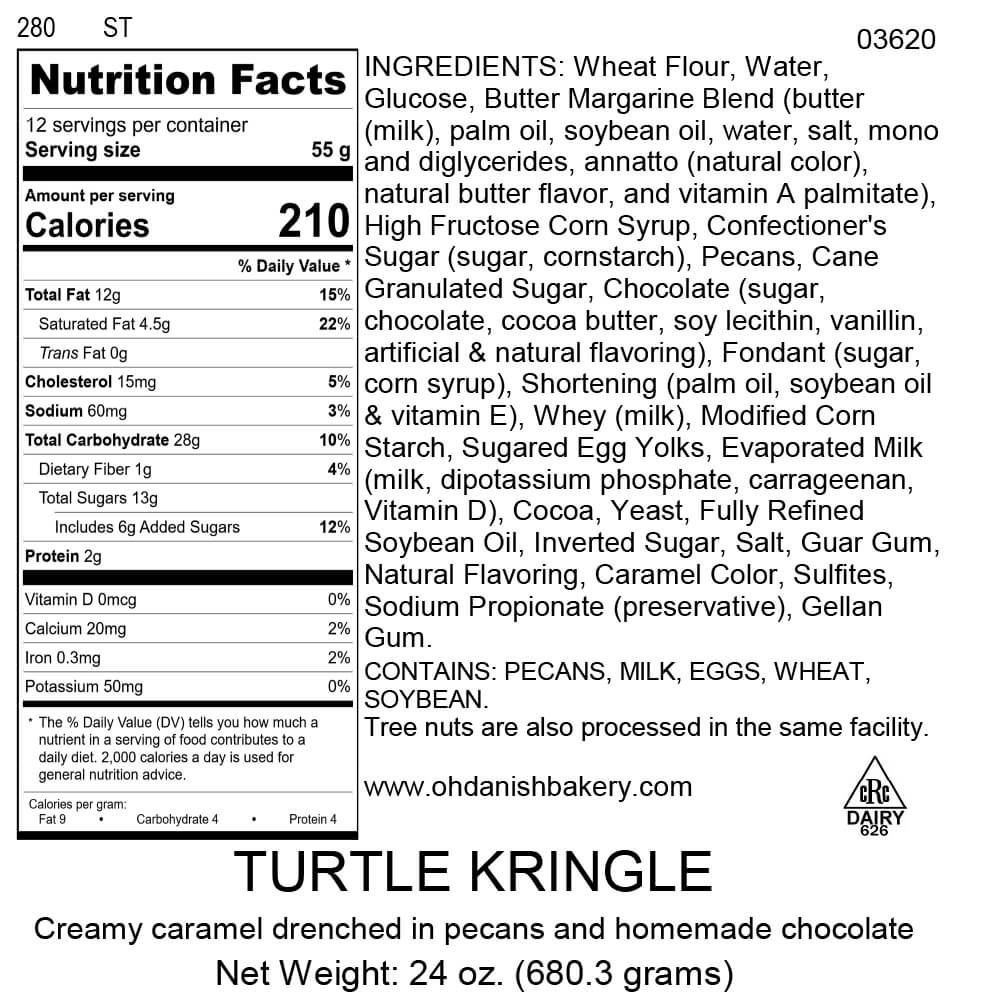 Nutritional Label for Turtle Kringle