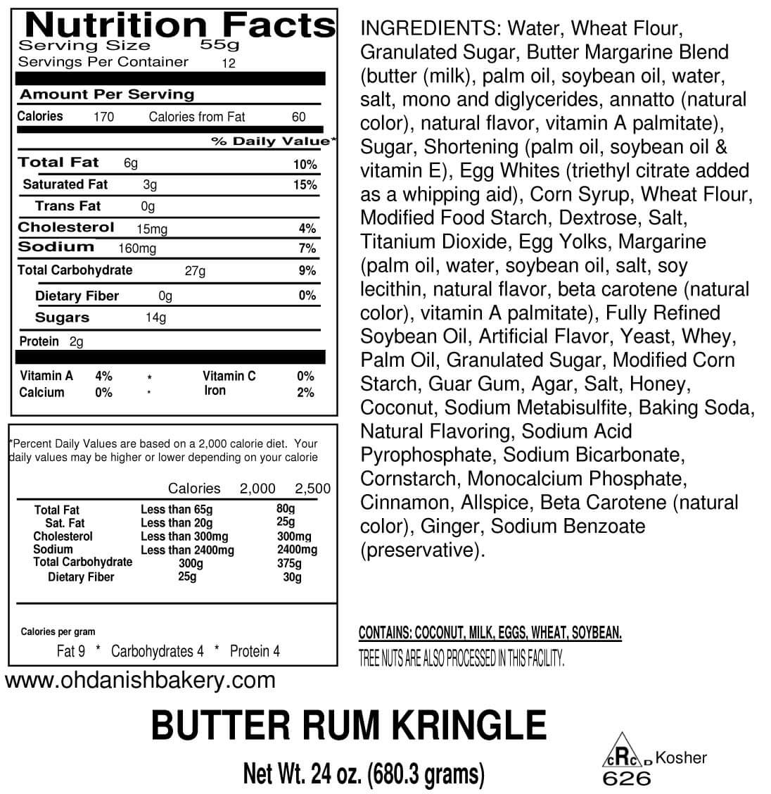 Nutritional Label for Butter Rum Kringle