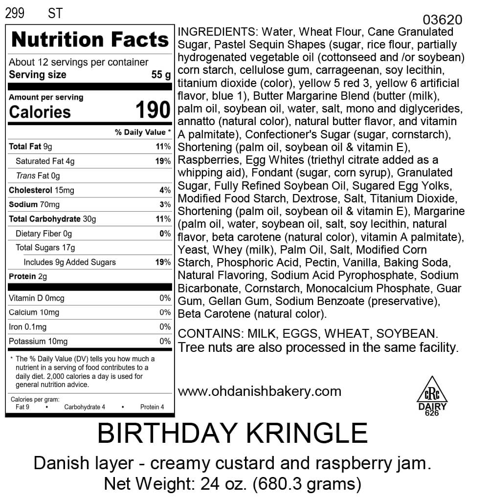 Nutritional Label for Birthday Kringle