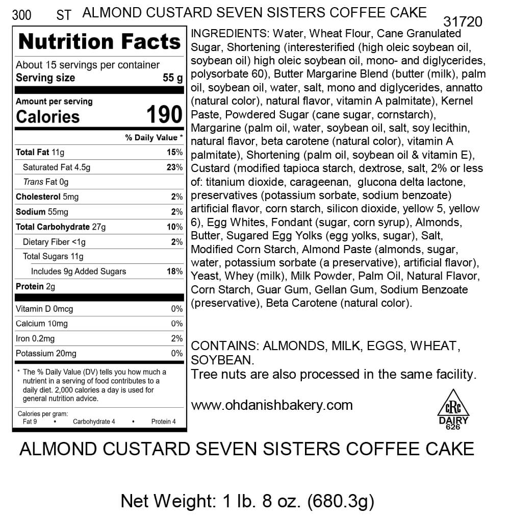 Nutritional Label for Almond Custard Seven Sisters Coffee Cake