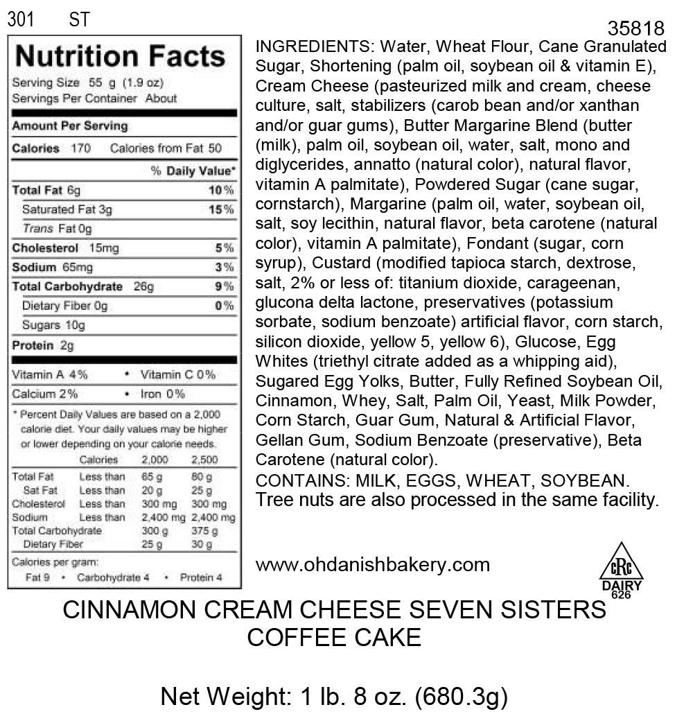 Nutritional Label for Cinnamon Seven Sisters Coffee Cake
