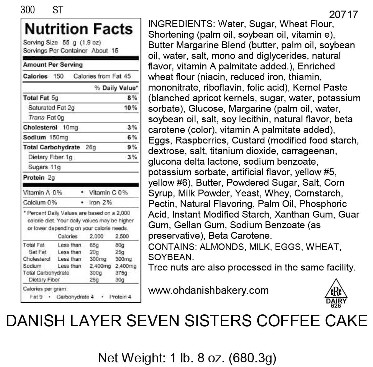 Nutritional Label for Danish Layer Seven Sisters Coffee Cake