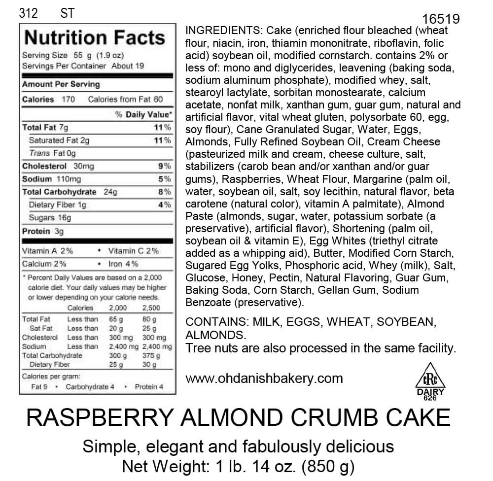 Nutritional Label for Raspberry Almond Crumb Cake