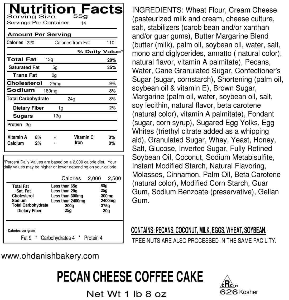 Nutritional Label for Pecan Cheese Coffee Cake