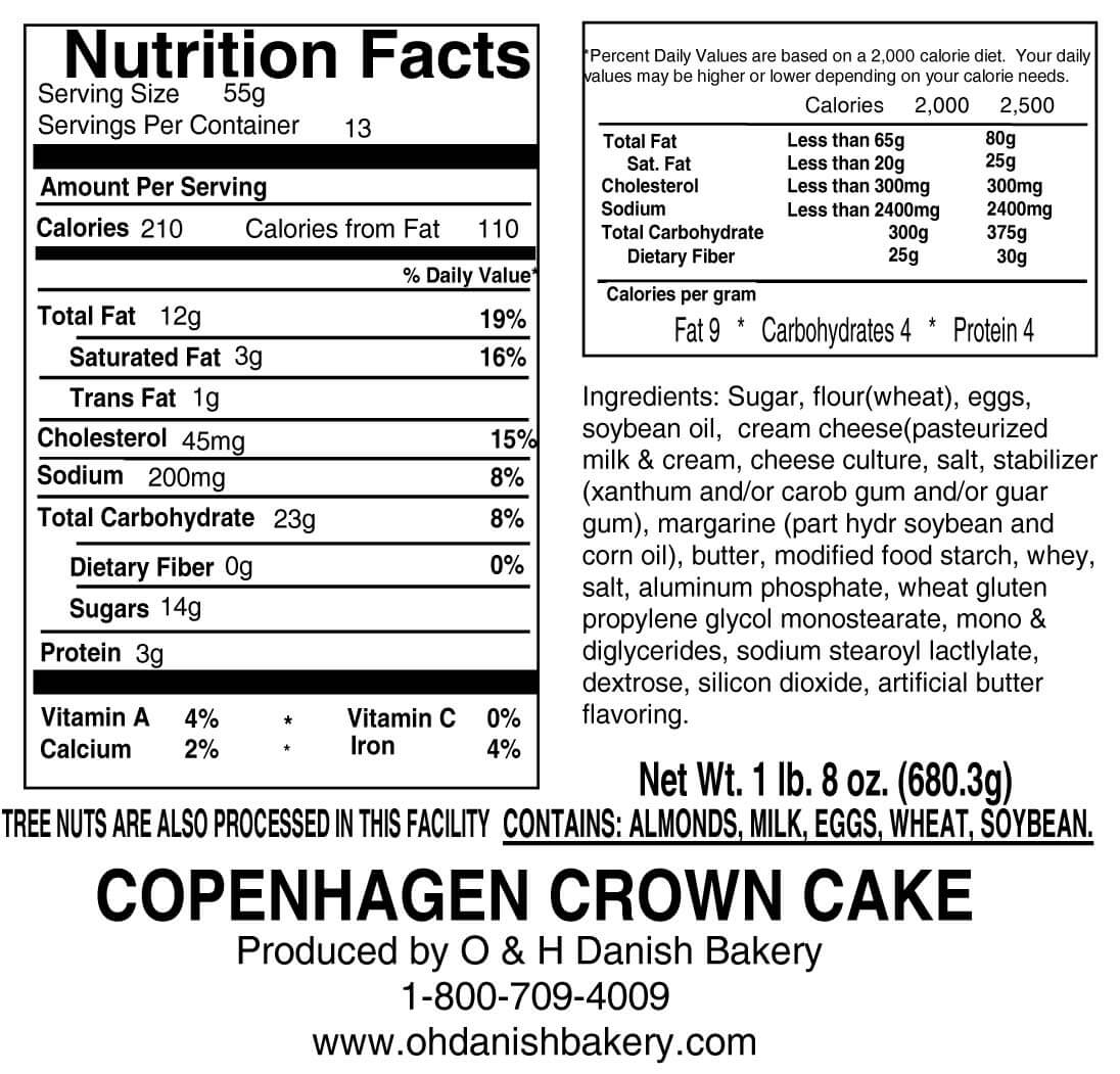 Nutritional Label for Copenhagen Crown Cake