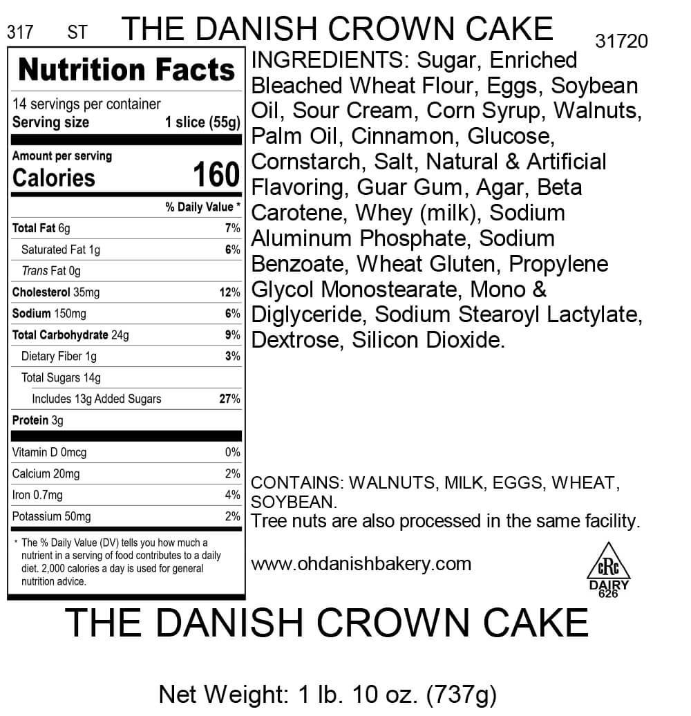 Nutritional Label for The Danish Crown Cake