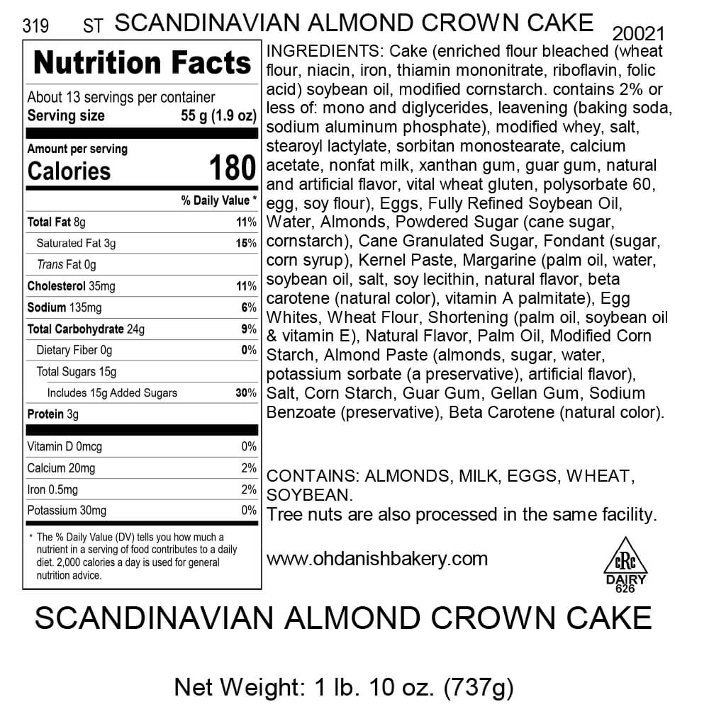 Nutritional Label for Scandinavian Almond Crown Cake