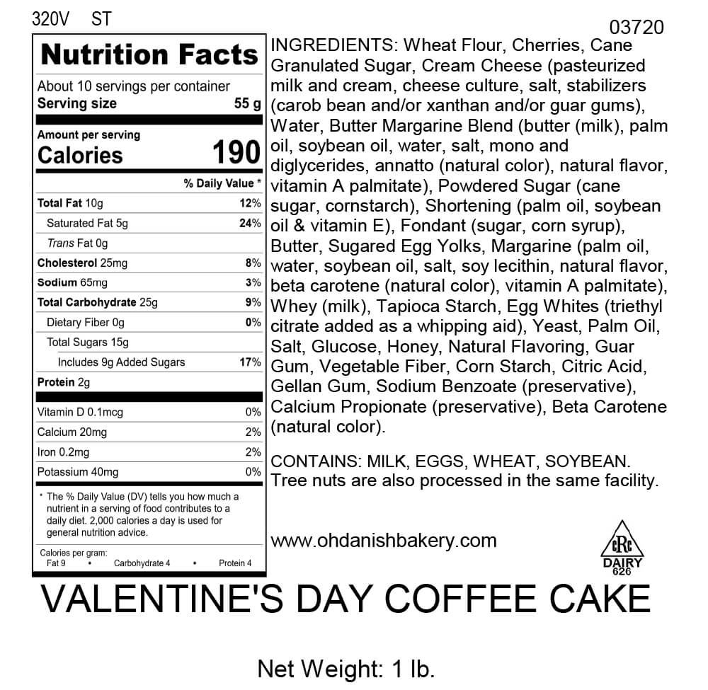 Nutritional Label for Valentine's Day Coffee Cake