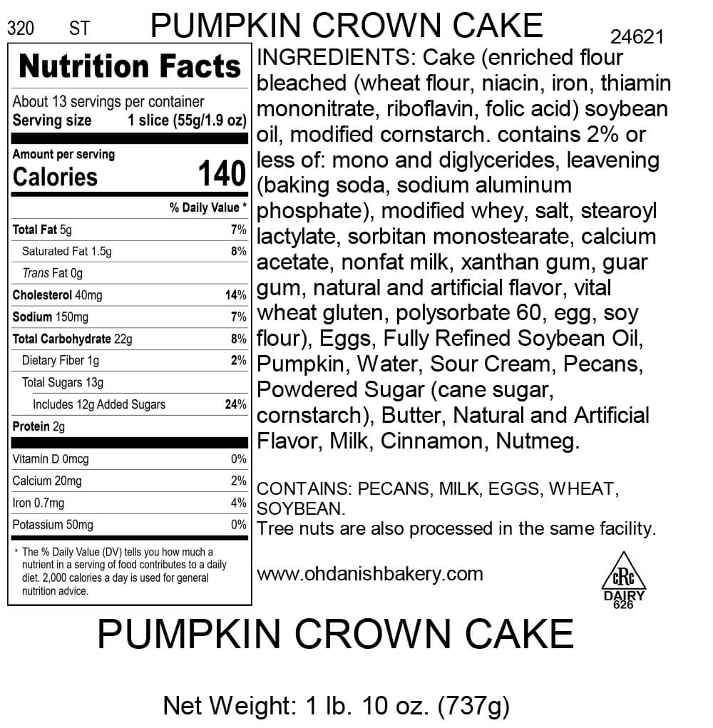 Nutritional Label for Pumpkin Crown Cake