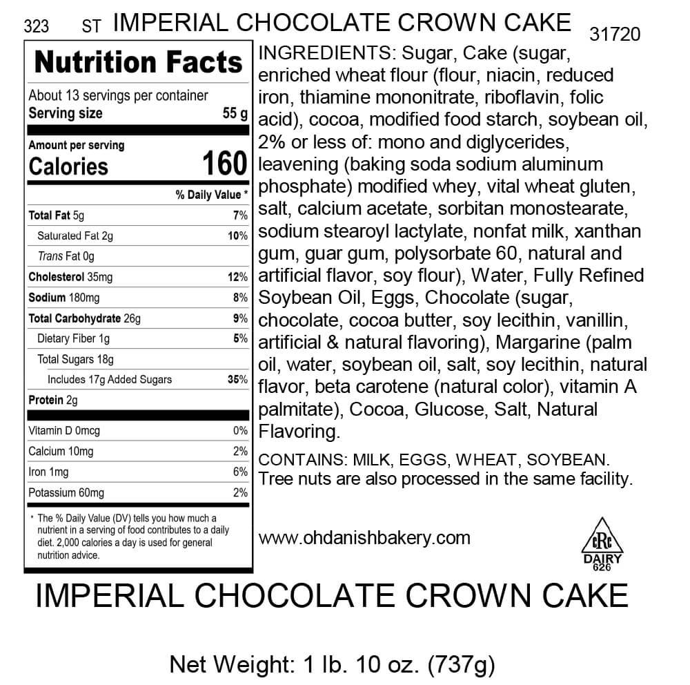 Nutritional Label for The Imperial Chocolate Crown Cake