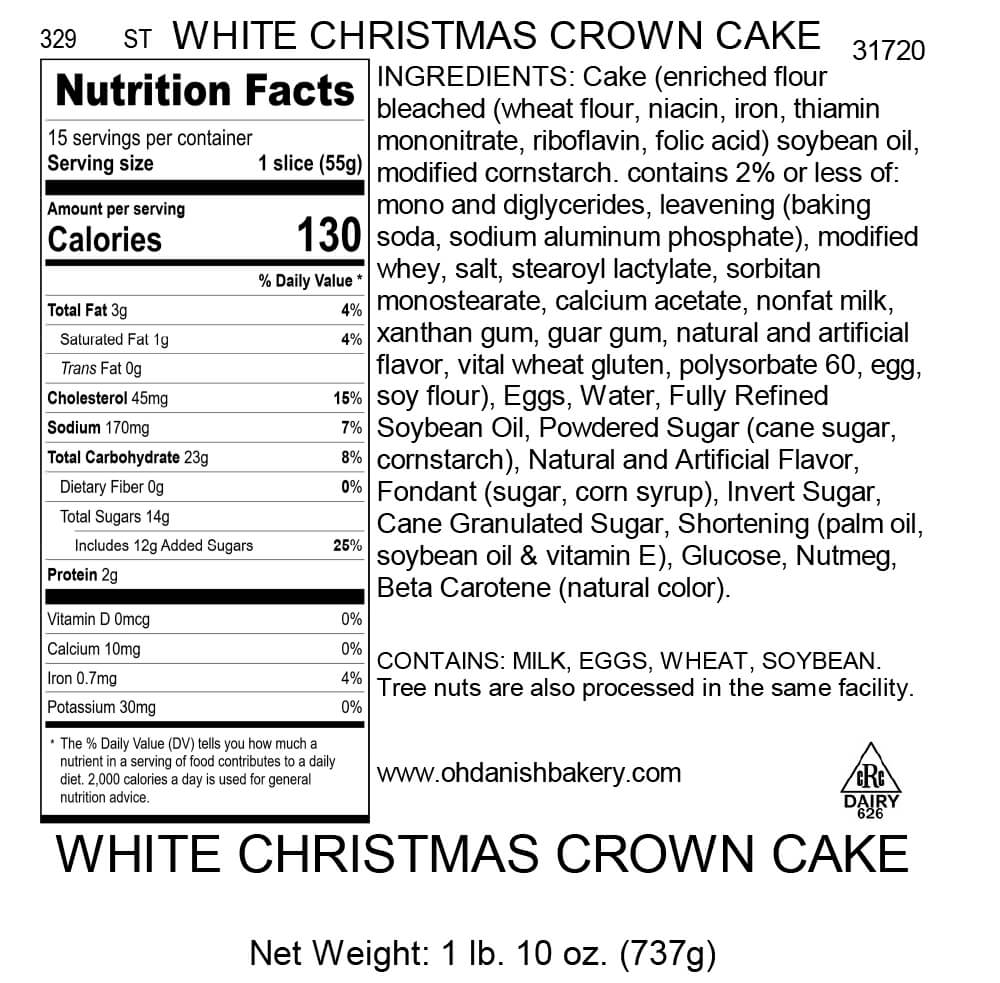 Nutritional Label for White Christmas Crown Cake