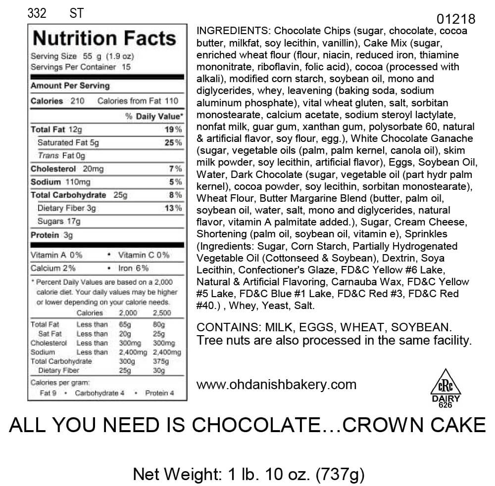 Nutritional Label for All you need is Chocolate Crown Cake