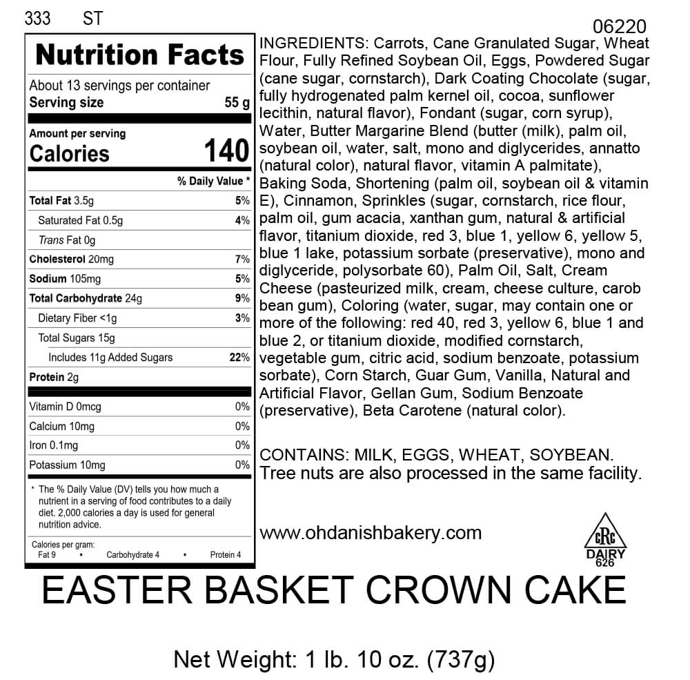 Nutritional Label for Easter Basket Crown Cake