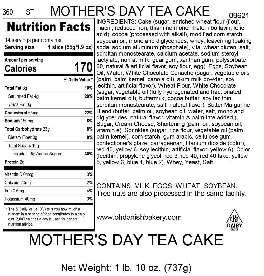 Nutritional Label for Mother's Day Tea Cake