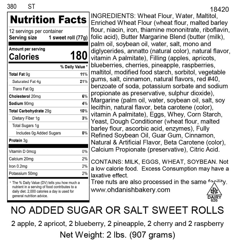 Nutritional Label for No Added Salt and Sugar Sweet Rolls