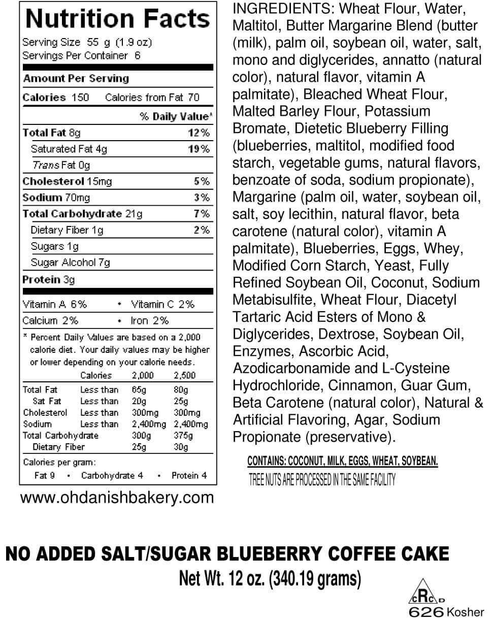 Nutritional Label for No Added Salt and Sugar Coffee Cakes