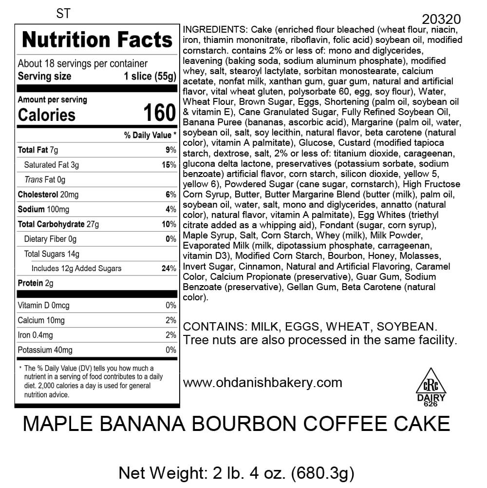 Nutritional Label for Maple Bourbon Banana Coffee Cake