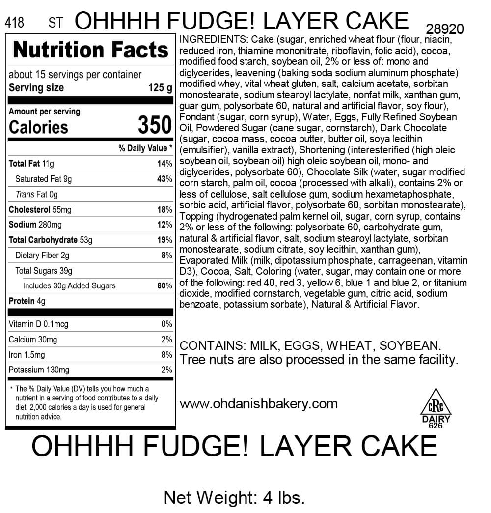 Nutritional Label for Ohhhh Fudge! Layer Cake