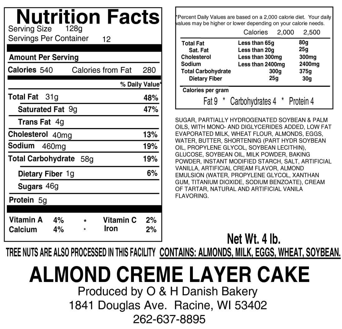 Nutritional Label for Copenhagen Creme Layer Cake