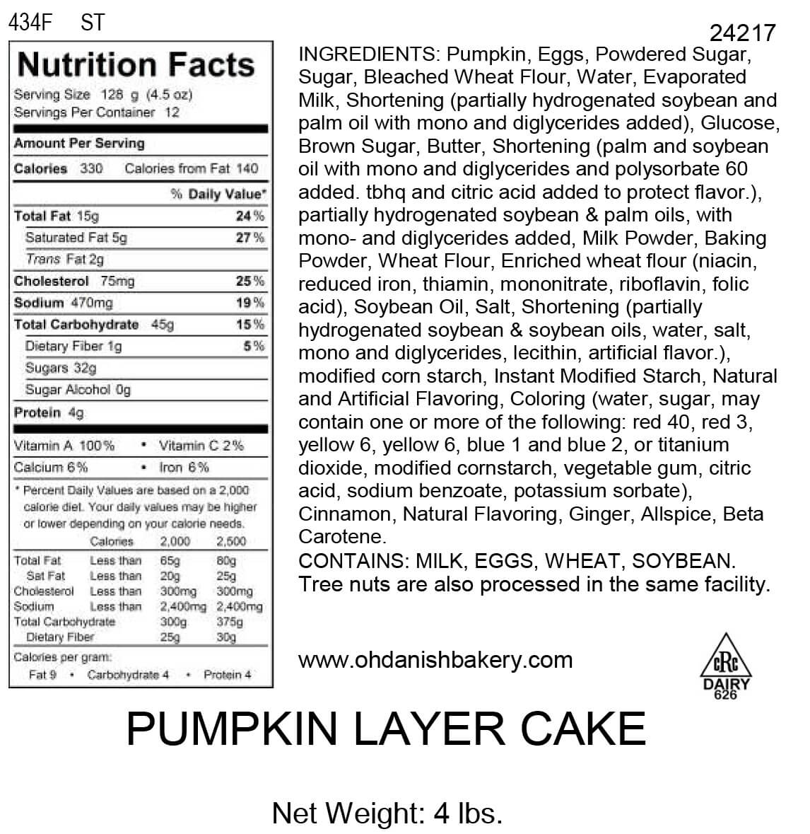 Nutritional Label for Pumpkin Layer Cake