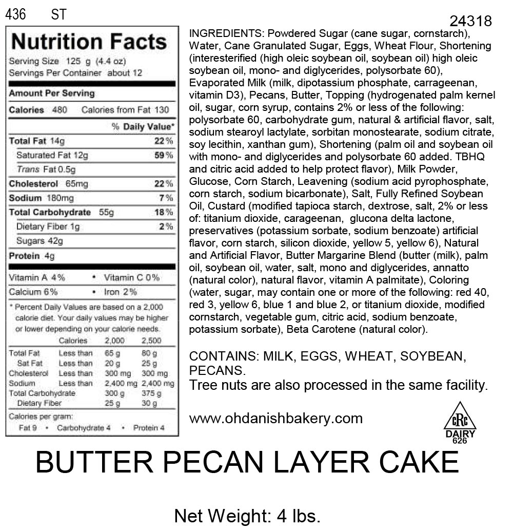 Nutritional Label for Butter Pecan Layer Cake